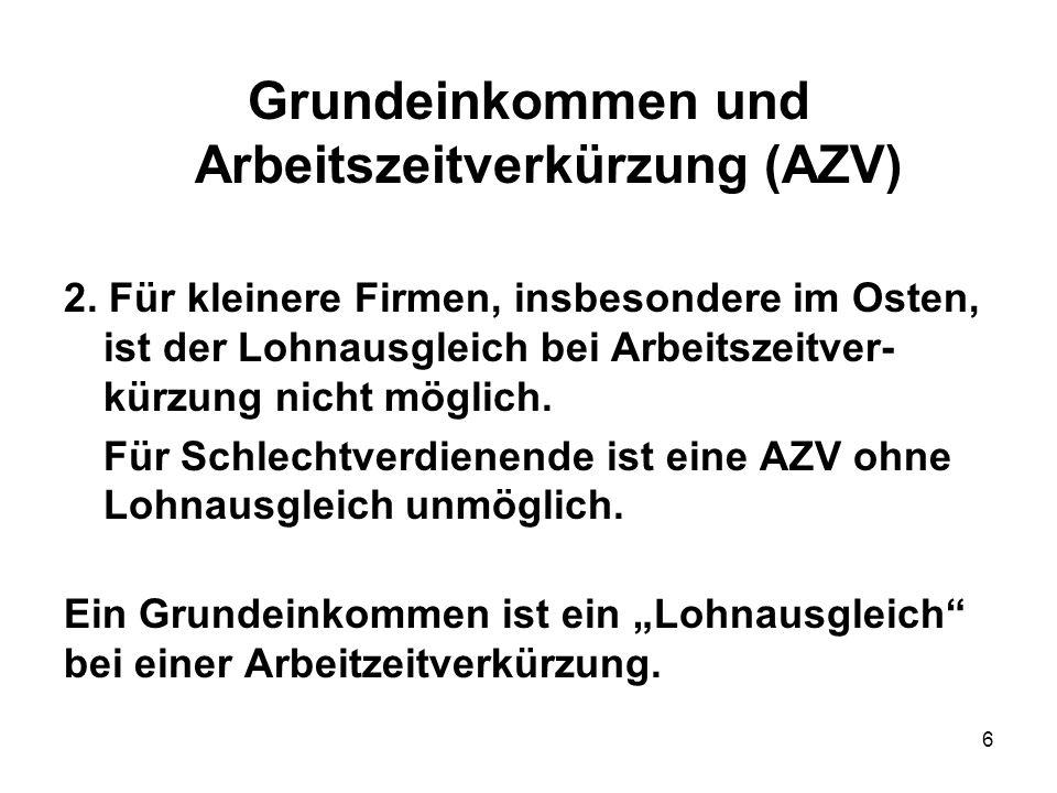 7 Grundeinkommen und Arbeitszeitverkürzung (AZV) 3.