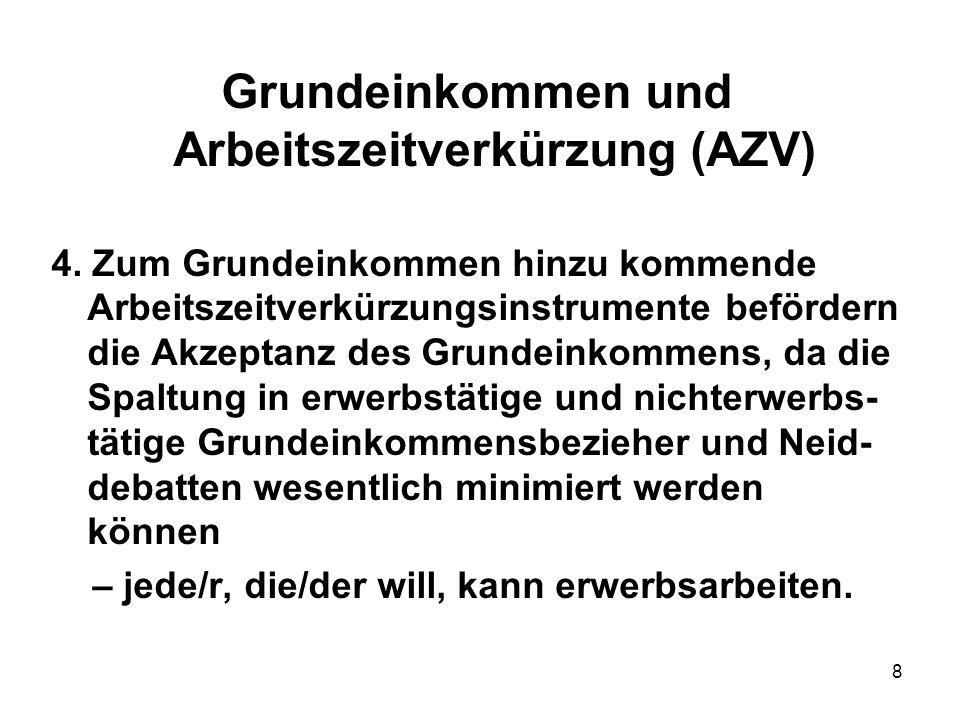 8 Grundeinkommen und Arbeitszeitverkürzung (AZV) 4. Zum Grundeinkommen hinzu kommende Arbeitszeitverkürzungsinstrumente befördern die Akzeptanz des Gr