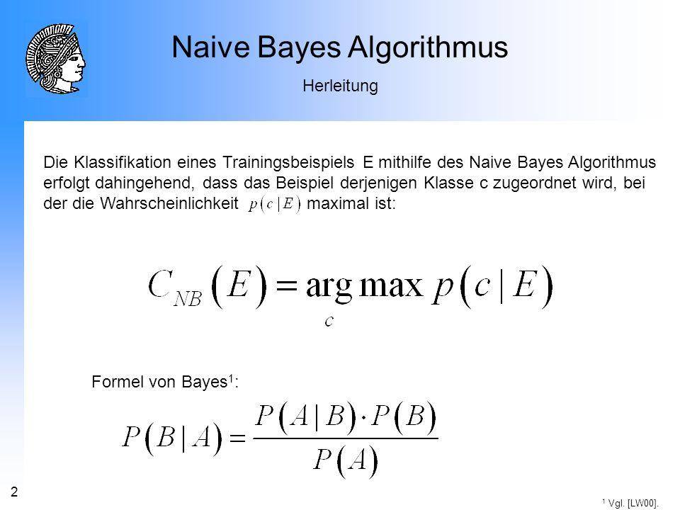 3 Naive Bayes Algorithmus Herleitung (1) (2) (3) E wird durch Realisierungen der Attribute charakterisiert.