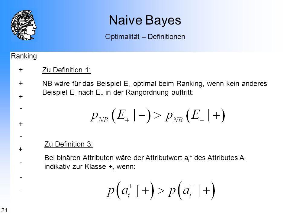 21 Naive Bayes Optimalität – Definitionen Zu Definition 1: NB wäre für das Beispiel E + optimal beim Ranking, wenn kein anderes Beispiel E - nach E +