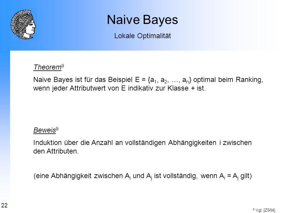 22 Naive Bayes Lokale Optimalität Theorem 9 Naive Bayes ist für das Beispiel E = {a 1, a 2, …, a n } optimal beim Ranking, wenn jeder Attributwert von