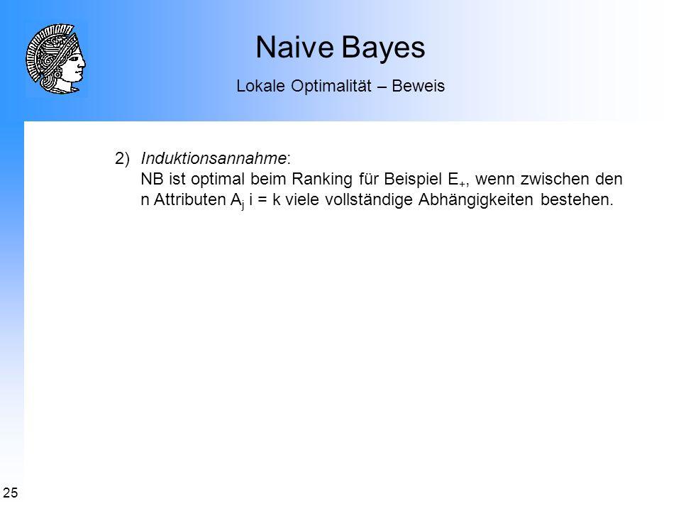 25 Naive Bayes Lokale Optimalität – Beweis 2)Induktionsannahme: NB ist optimal beim Ranking für Beispiel E +, wenn zwischen den n Attributen A j i = k