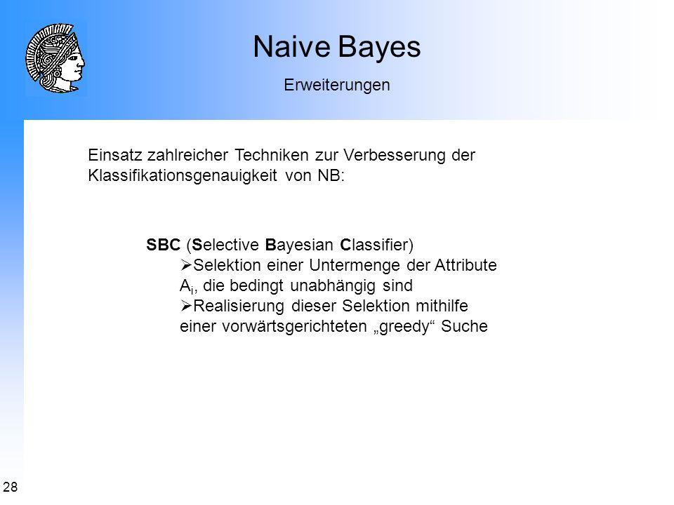 28 Naive Bayes Erweiterungen Einsatz zahlreicher Techniken zur Verbesserung der Klassifikationsgenauigkeit von NB: SBC (Selective Bayesian Classifier)