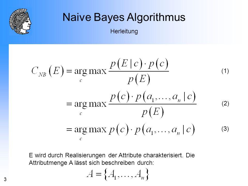 3 Naive Bayes Algorithmus Herleitung (1) (2) (3) E wird durch Realisierungen der Attribute charakterisiert. Die Attributmenge A lässt sich beschreiben