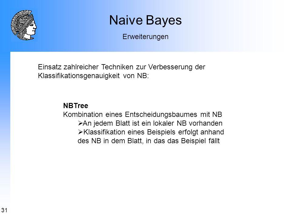 31 Naive Bayes Erweiterungen NBTree Kombination eines Entscheidungsbaumes mit NB An jedem Blatt ist ein lokaler NB vorhanden Klassifikation eines Beis