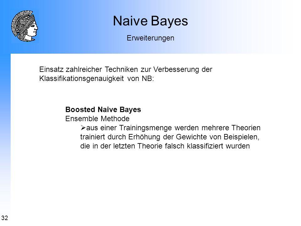 32 Naive Bayes Erweiterungen Boosted Naive Bayes Ensemble Methode aus einer Trainingsmenge werden mehrere Theorien trainiert durch Erhöhung der Gewich