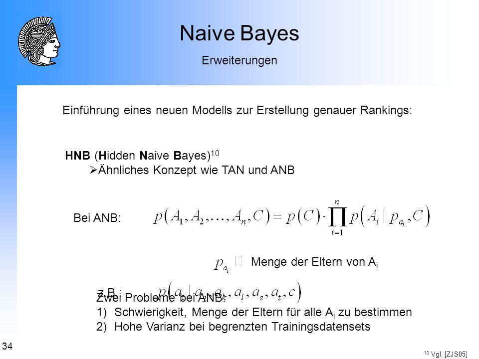 34 Naive Bayes Erweiterungen Einführung eines neuen Modells zur Erstellung genauer Rankings: HNB (Hidden Naive Bayes) 10 Ähnliches Konzept wie TAN und