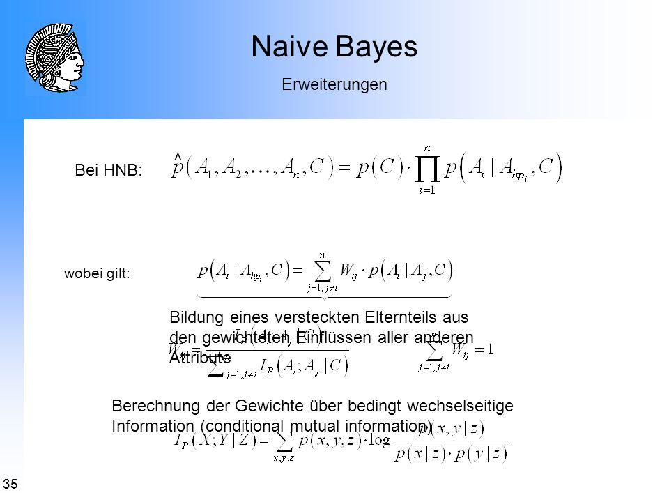 35 Naive Bayes Erweiterungen Bei HNB: wobei gilt: ^ Bildung eines versteckten Elternteils aus den gewichteten Einflüssen aller anderen Attribute Berec