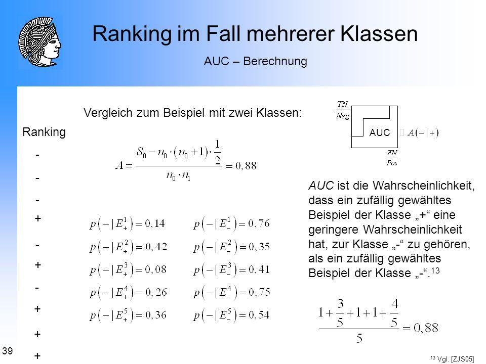 39 Ranking im Fall mehrerer Klassen AUC – Berechnung Vergleich zum Beispiel mit zwei Klassen: AUC - + + + + + - - - - Ranking AUC ist die Wahrscheinli