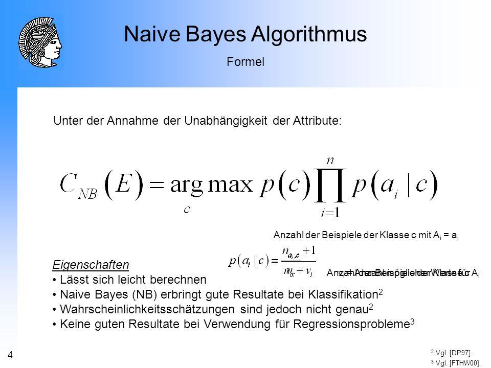 4 Naive Bayes Algorithmus Formel Eigenschaften Lässt sich leicht berechnen Naive Bayes (NB) erbringt gute Resultate bei Klassifikation 2 Wahrscheinlic
