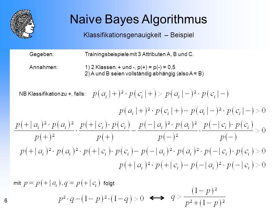 6 Gegeben: Trainingsbeispiele mit 3 Attributen A, B und C. Annahmen: 1) 2 Klassen, + und -, p(+) = p(-) = 0,5 2) A und B seien vollständig abhängig (a