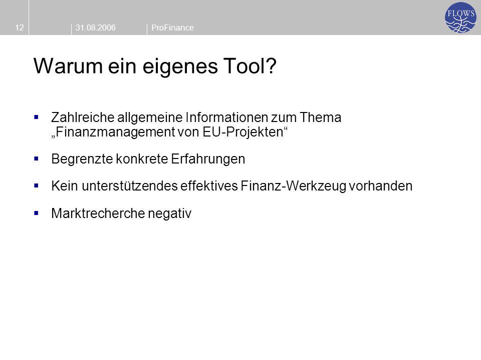 31.08.200612ProFinance Warum ein eigenes Tool? Zahlreiche allgemeine Informationen zum Thema Finanzmanagement von EU-Projekten Begrenzte konkrete Erfa