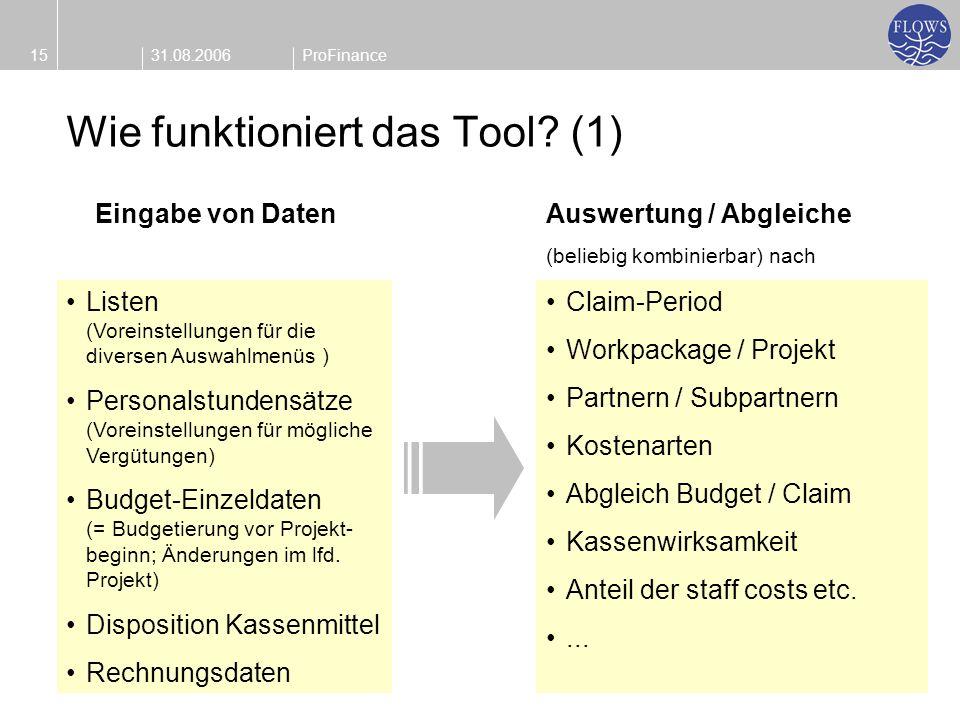 31.08.200615ProFinance Wie funktioniert das Tool? (1) Listen (Voreinstellungen für die diversen Auswahlmenüs ) Personalstundensätze (Voreinstellungen