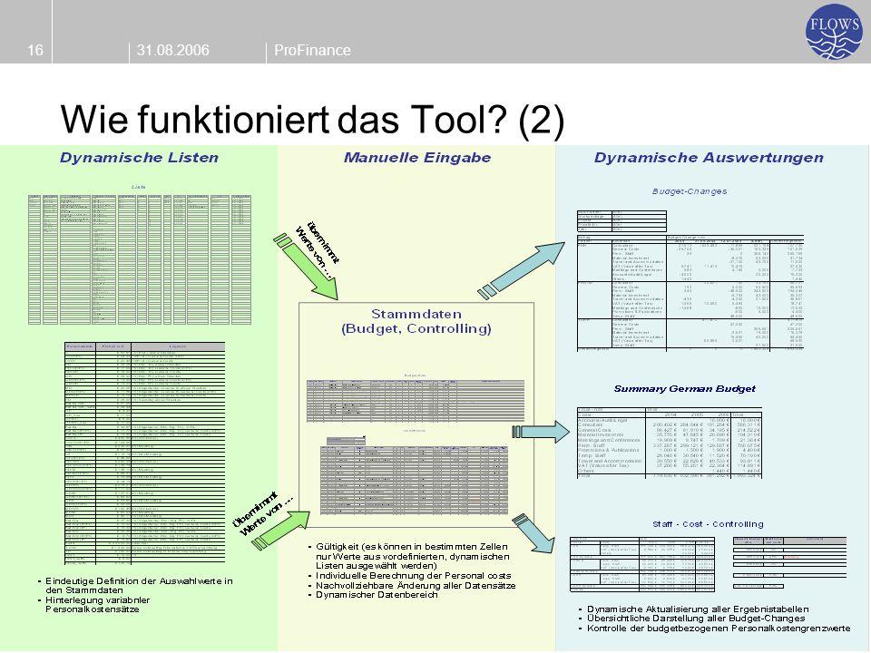 31.08.200616ProFinance Wie funktioniert das Tool? (2)