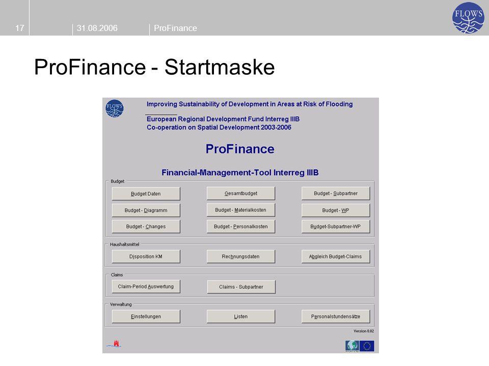 31.08.200617ProFinance ProFinance - Startmaske