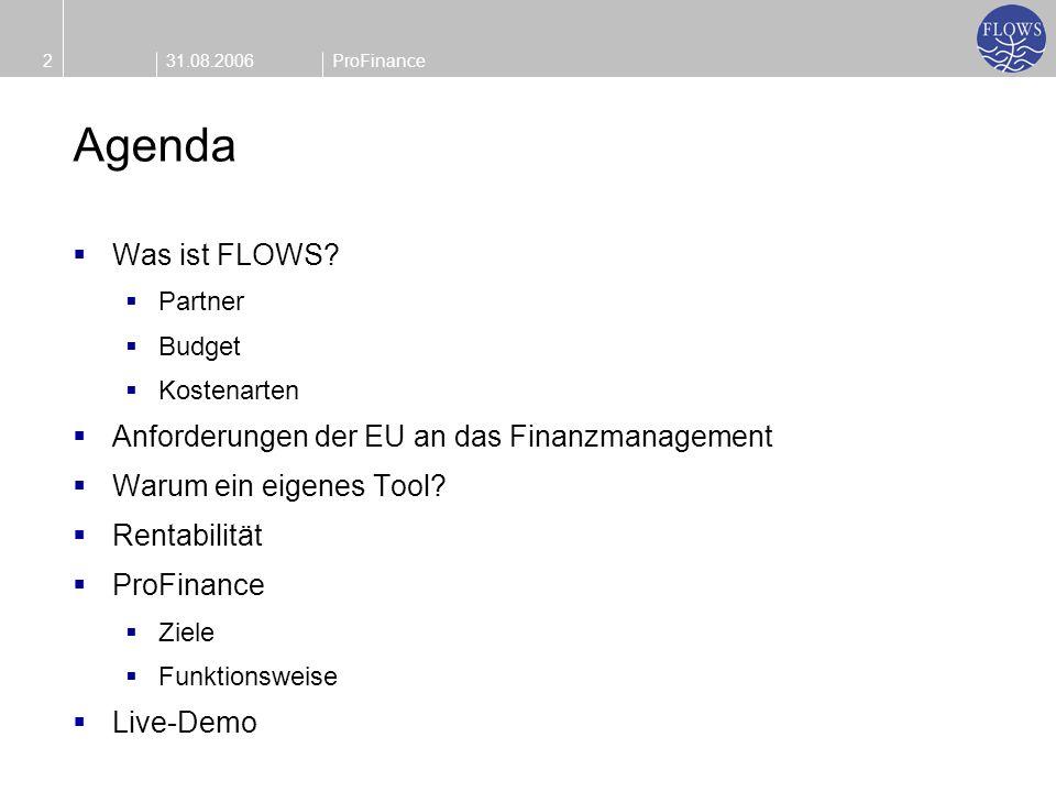 31.08.20062ProFinance Agenda Was ist FLOWS? Partner Budget Kostenarten Anforderungen der EU an das Finanzmanagement Warum ein eigenes Tool? Rentabilit