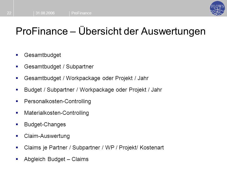 31.08.200622ProFinance ProFinance – Übersicht der Auswertungen Gesamtbudget Gesamtbudget / Subpartner Gesamtbudget / Workpackage oder Projekt / Jahr B