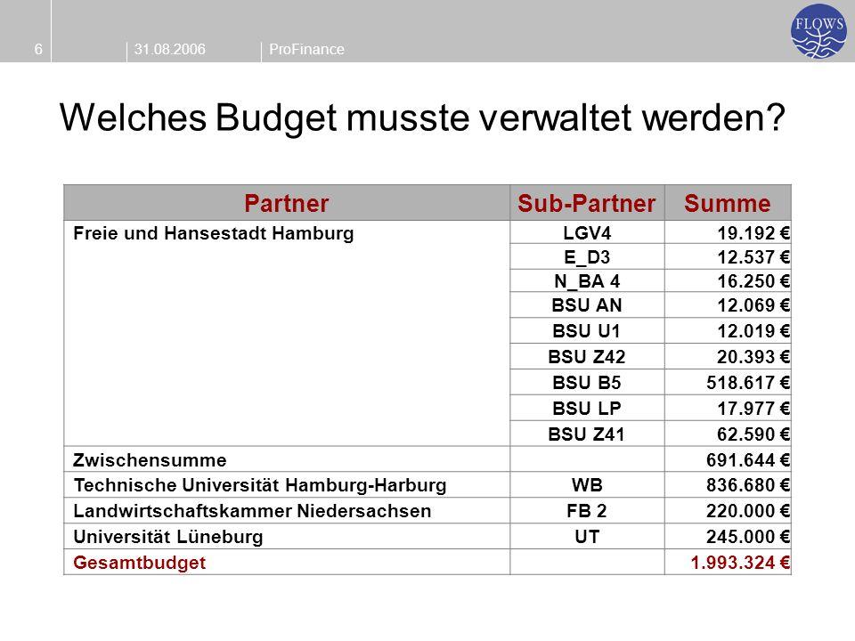 31.08.20066ProFinance Welches Budget musste verwaltet werden? PartnerSub-PartnerSumme Freie und Hansestadt HamburgLGV419.192 E_D312.537 N_BA 416.250 B