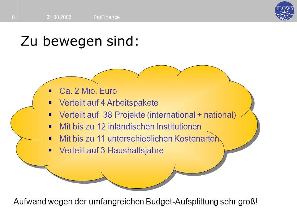31.08.20068ProFinance Ca. 2 Mio. Euro Verteilt auf 4 Arbeitspakete Verteilt auf 38 Projekte (international + national) Mit bis zu 12 inländischen Inst