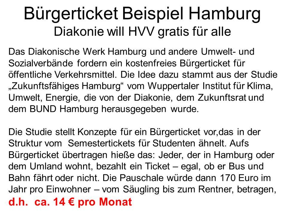 Bürgerticket Beispiel Hamburg Diakonie will HVV gratis für alle Das Diakonische Werk Hamburg und andere Umwelt- und Sozialverbände fordern ein kostenf