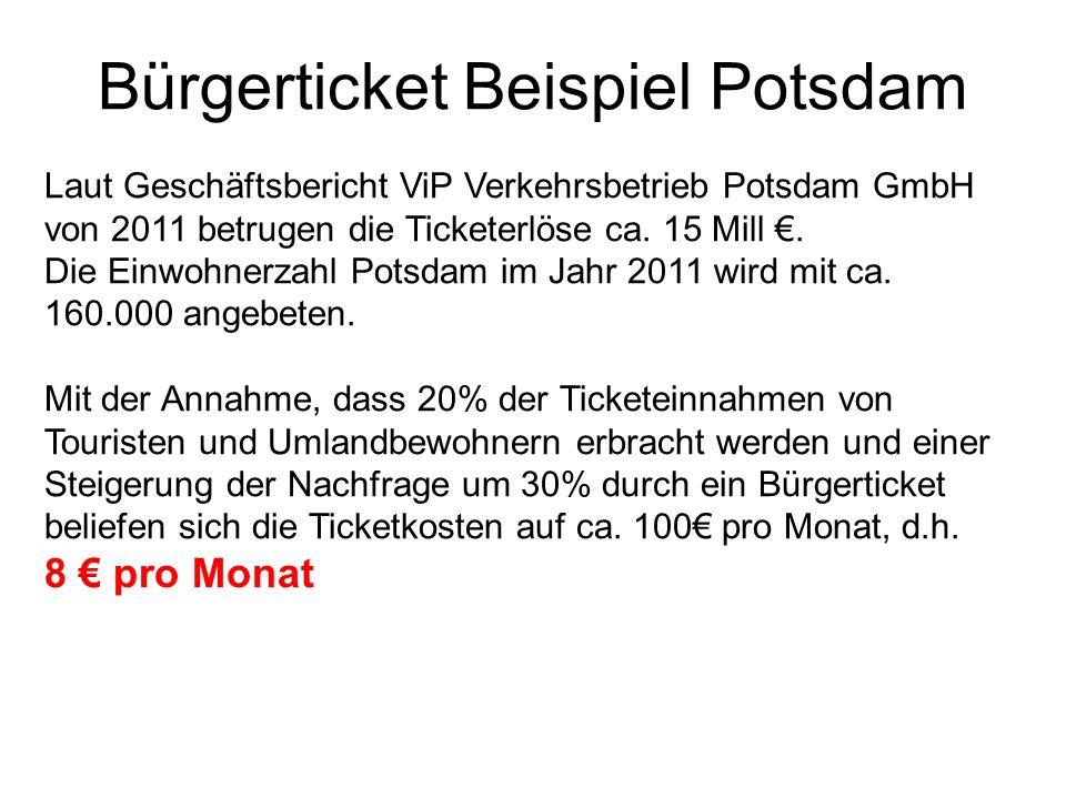 Bürgerticket Beispiel Potsdam Laut Geschäftsbericht ViP Verkehrsbetrieb Potsdam GmbH von 2011 betrugen die Ticketerlöse ca. 15 Mill. Die Einwohnerzahl