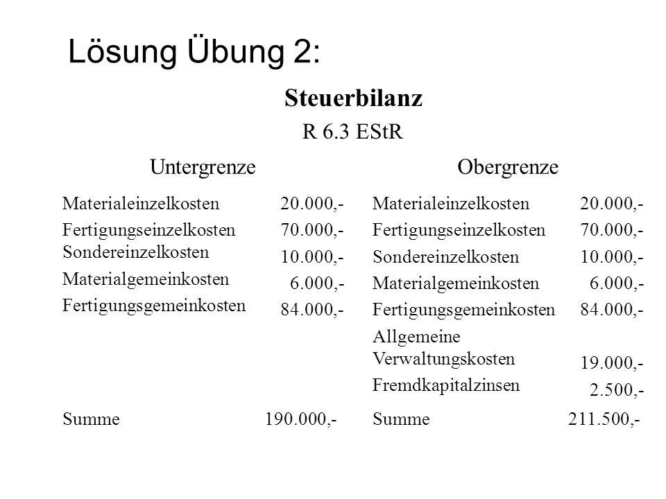 Lösung Übung 2: Steuerbilanz R 6.3 EStR UntergrenzeObergrenze Materialeinzelkosten Fertigungseinzelkosten Sondereinzelkosten Materialgemeinkosten Fert