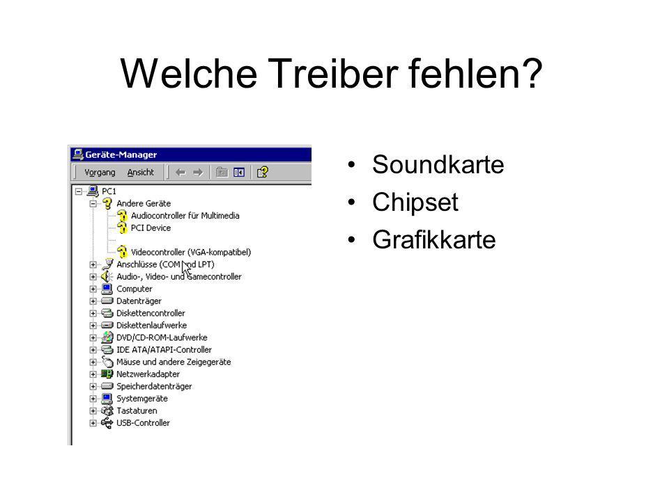 Welche Treiber fehlen? Soundkarte Chipset Grafikkarte