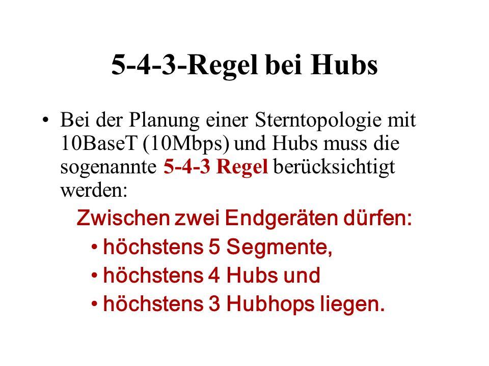 5-4-3-Regel bei Hubs Bei der Planung einer Sterntopologie mit 10BaseT (10Mbps) und Hubs muss die sogenannte 5-4-3 Regel berücksichtigt werden: Zwische