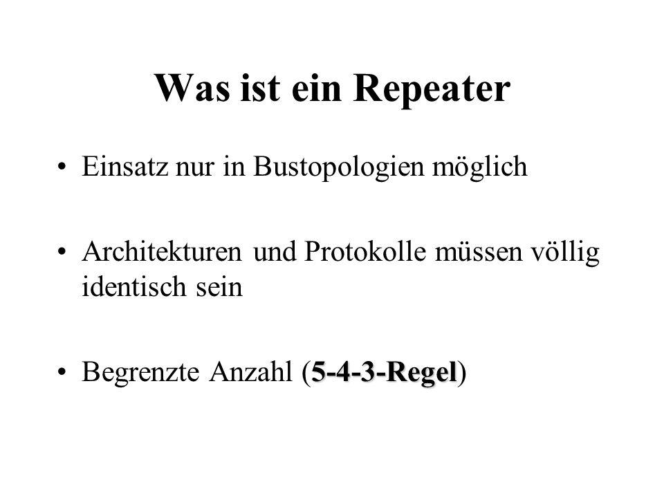 Was ist ein Repeater Einsatz nur in Bustopologien möglich Architekturen und Protokolle müssen völlig identisch sein 5-4-3-RegelBegrenzte Anzahl (5-4-3