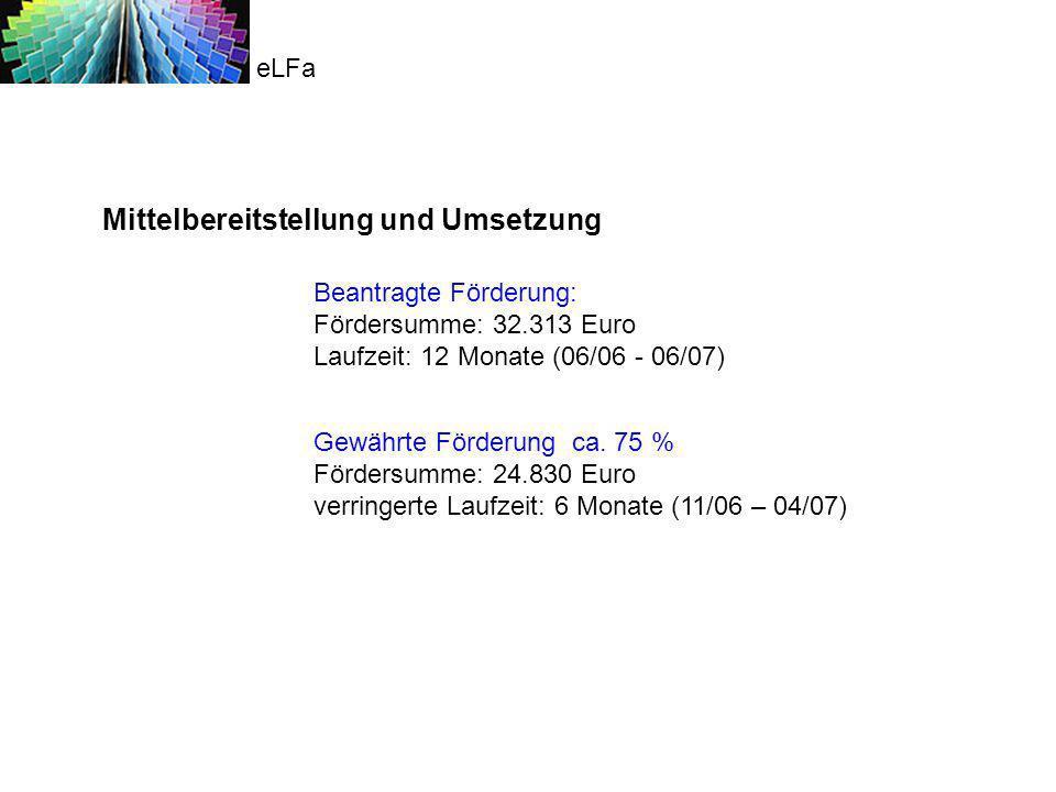 Umsetzung ab 11/ 06 1 bestehender Honorarvertrag, Laufzeit 01.11.2006-30.04.2007: Projektleiter Privatdozent Dipl.-Ing.