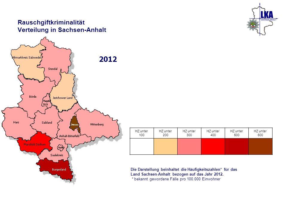 Rauschgiftkriminalität Verteilung in Sachsen-Anhalt 2012 Die Darstellung beinhaltet die Häufigkeitszahlen* für das Land Sachsen-Anhalt bezogen auf das