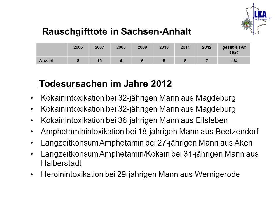 Rauschgifttote in Sachsen-Anhalt 2006200720082009201020112012gesamt seit 1994 Anzahl81546697114 Todesursachen im Jahre 2012 Kokainintoxikation bei 32-