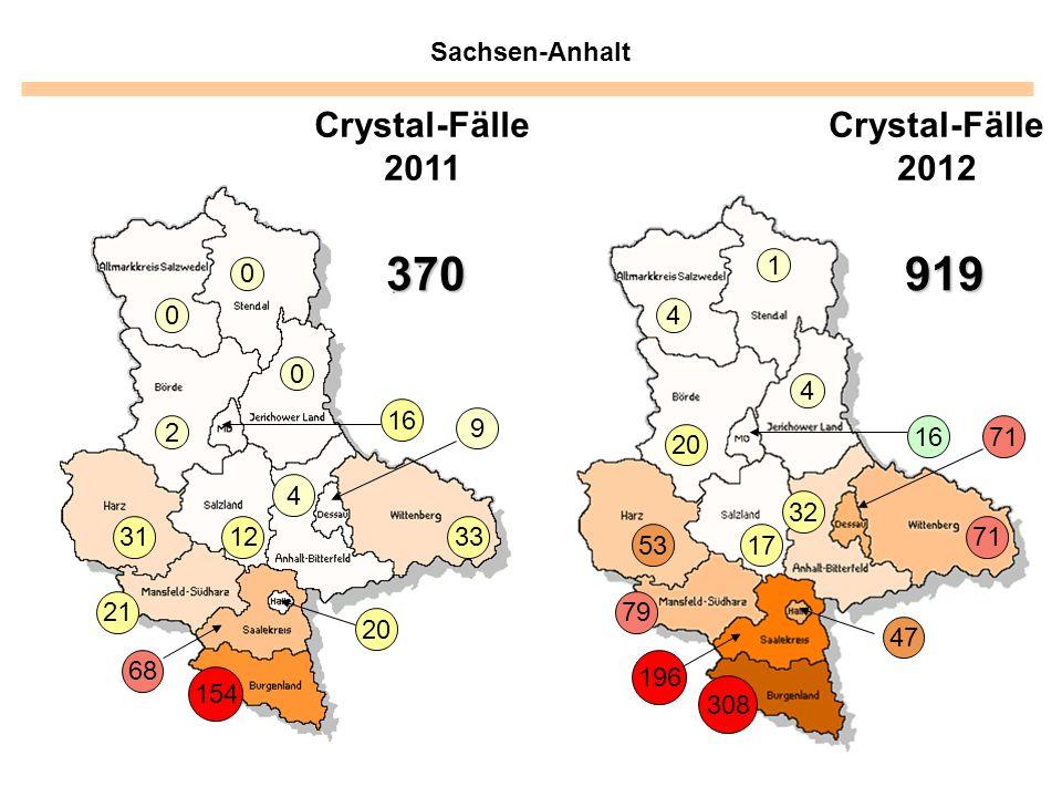 Sachsen-Anhalt 1 4 4 20 5317 32 1671 47 79 196 308 Crystal-Fälle 2012 370 0 0 0 2 16 31 21 4 33 68 154 9 20 Crystal-Fälle 2011 919 12