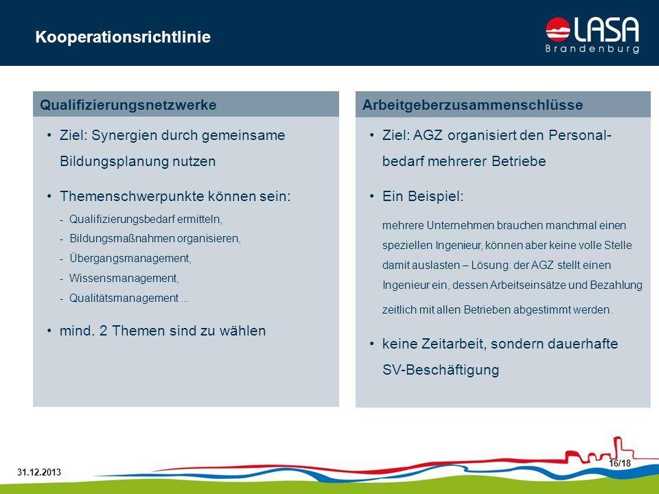 31.12.2013 16/18 Kooperationsrichtlinie ArbeitgeberzusammenschlüsseQualifizierungsnetzwerke Ziel: Synergien durch gemeinsame Bildungsplanung nutzen Th