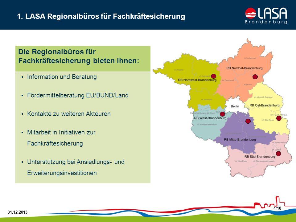 31.12.2013 4/18 Information und Beratung Fördermittelberatung EU/BUND/Land Kontakte zu weiteren Akteuren Mitarbeit in Initiativen zur Fachkräftesicher