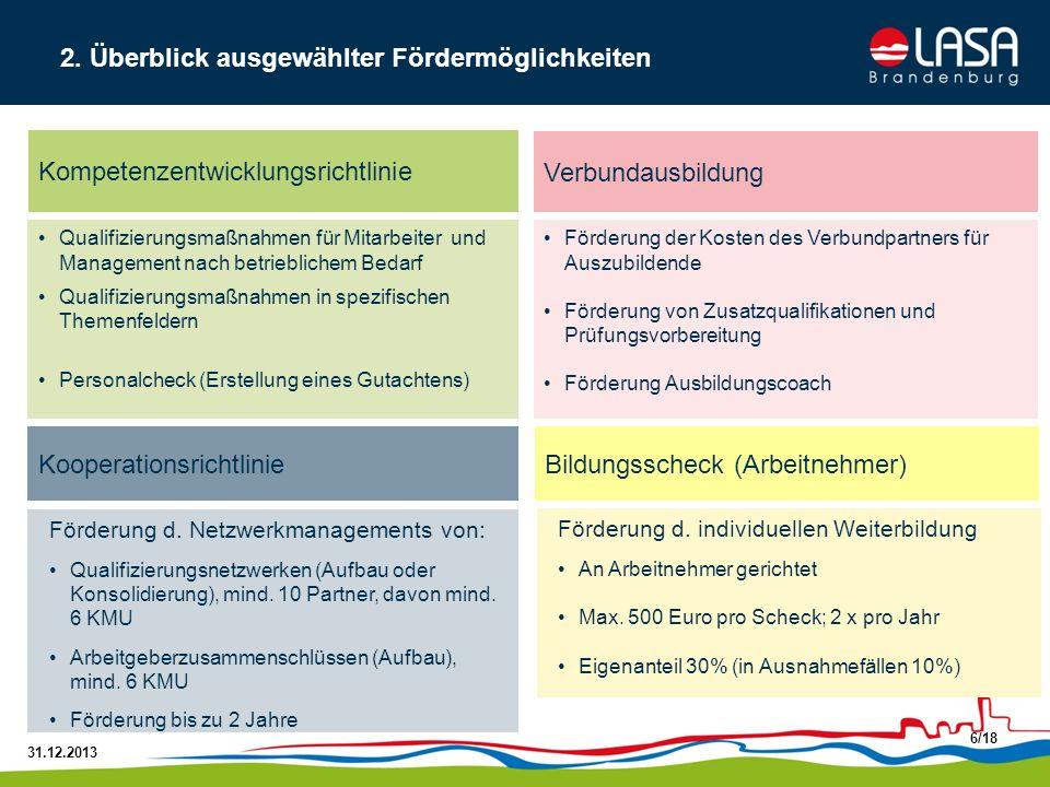 31.12.2013 7/18 Förderung der Weiterbildungskosten bis zu 80 %, Eigenanteil 20 % für Mitarbeiter und das Management zwischen 300 und 3.000 Euro pro Jahr und Teilnehmer Antragstellung erfolgt durch das KMU mit Sitz im Land Brandenburg Organisationsträger können unterstützend für KMU tätig werden (ab 4 KMU) Kompetenzentwicklungsrichtlinie 2.1 Förderung der Qualifizierung von Beschäftigten und des Managements auf Basis betrieblichen Qualifizierungsbedarfs Aufstiegsqualifizierungen (BAFöG) Produktschulungen Führerscheine Nicht förderfähig