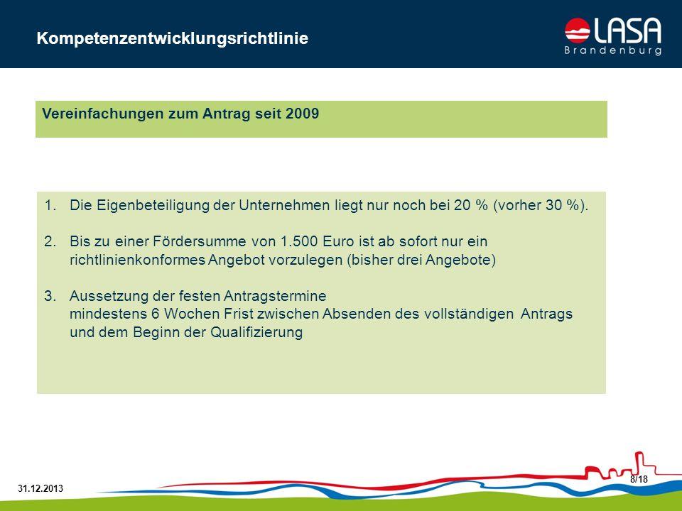 31.12.2013 8/18 1.Die Eigenbeteiligung der Unternehmen liegt nur noch bei 20 % (vorher 30 %). 2.Bis zu einer Fördersumme von 1.500 Euro ist ab sofort