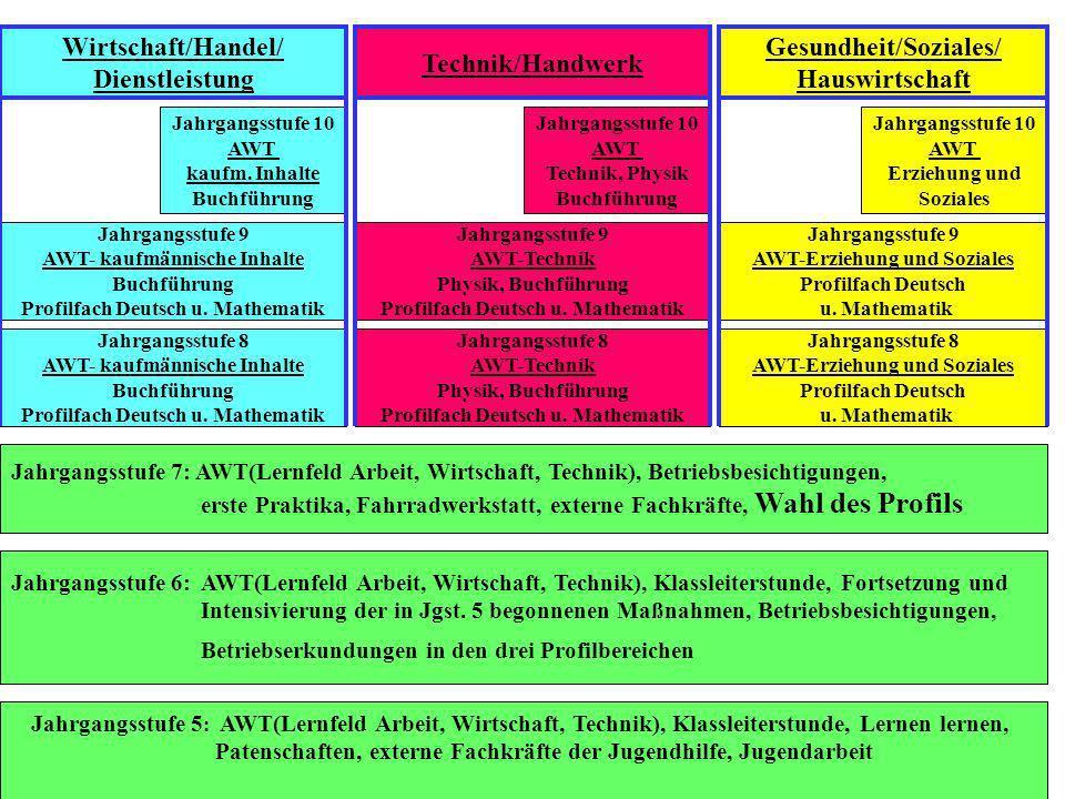 Jahrgangsstufe 5 : AWT(Lernfeld Arbeit, Wirtschaft, Technik), Klassleiterstunde, Lernen lernen, Patenschaften, externe Fachkräfte der Jugendhilfe, Jug