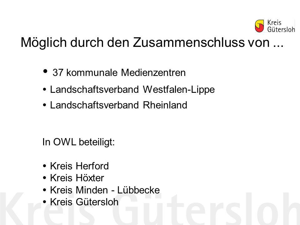 37 kommunale Medienzentren Landschaftsverband Westfalen-Lippe Landschaftsverband Rheinland In OWL beteiligt: Kreis Herford Kreis Höxter Kreis Minden - Lübbecke Kreis Gütersloh Möglich durch den Zusammenschluss von...