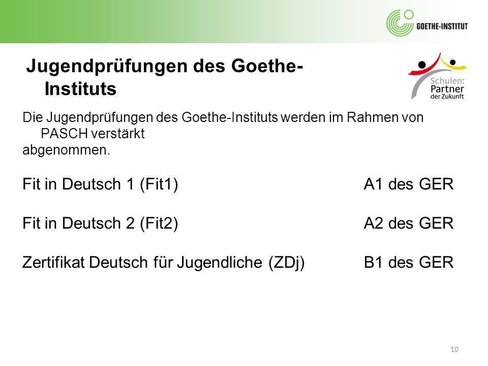 10 Jugendprüfungen des Goethe- Instituts Die Jugendprüfungen des Goethe-Instituts werden im Rahmen von PASCH verstärkt abgenommen. Fit in Deutsch 1 (F