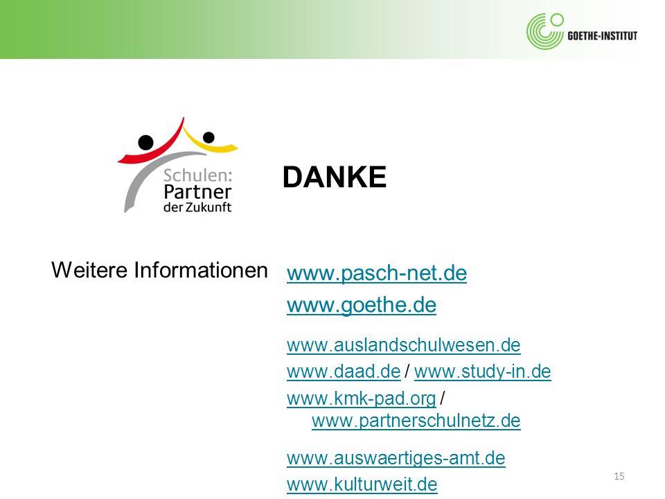 DANKE 15 Weitere Informationen www.pasch-net.de www.goethe.de www.auslandschulwesen.de www.daad.dewww.daad.de / www.study-in.dewww.study-in.de www.kmk