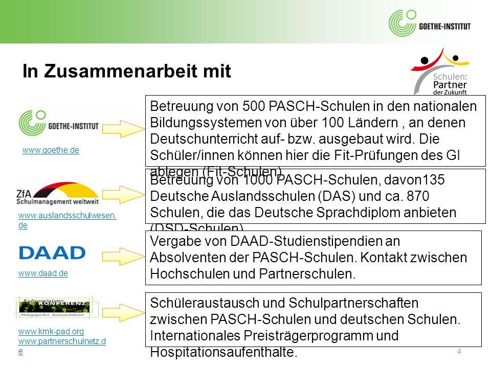 4 In Zusammenarbeit mit Betreuung von 1000 PASCH-Schulen, davon135 Deutsche Auslandsschulen (DAS) und ca. 870 Schulen, die das Deutsche Sprachdiplom a
