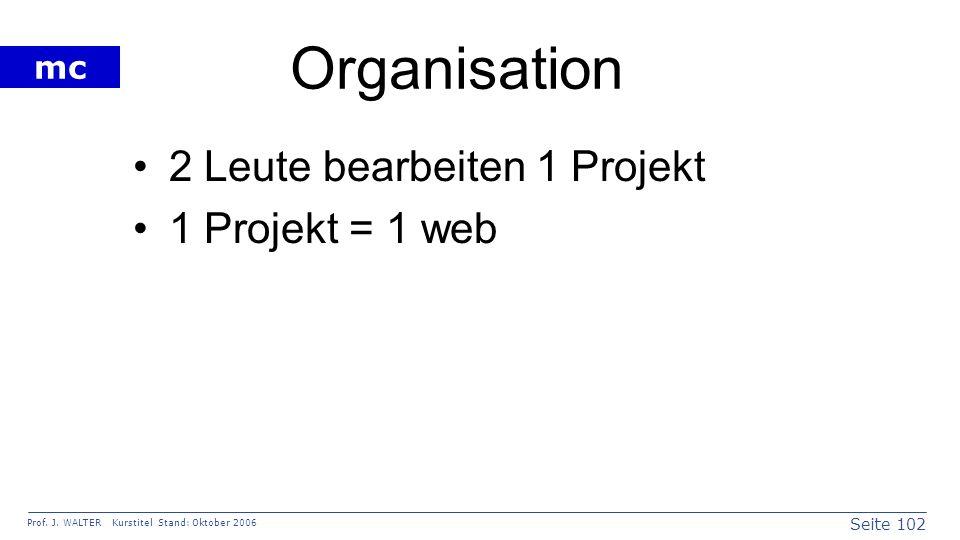 Seite 102 Prof. J. WALTER Kurstitel Stand: Oktober 2006 mc Organisation 2 Leute bearbeiten 1 Projekt 1 Projekt = 1 web