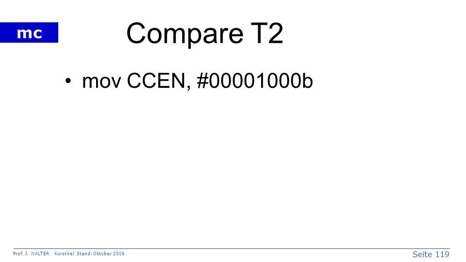 Seite 119 Prof. J. WALTER Kurstitel Stand: Oktober 2006 mc Compare T2 mov CCEN, #00001000b