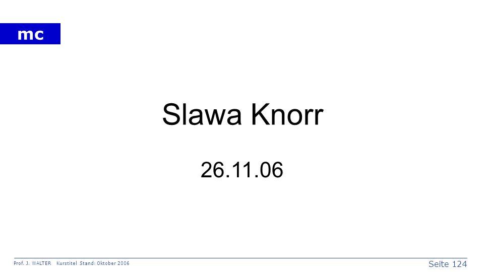 Seite 124 Prof. J. WALTER Kurstitel Stand: Oktober 2006 mc Slawa Knorr 26.11.06