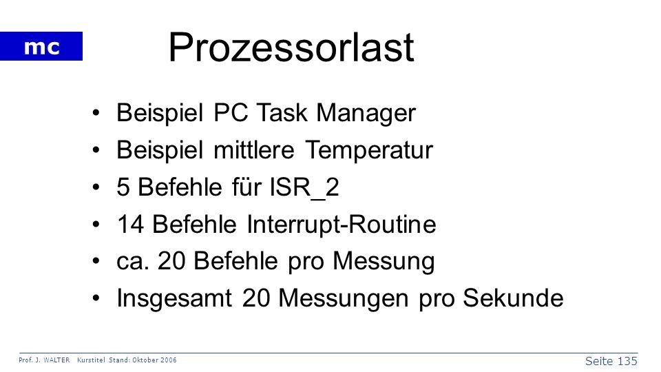 Seite 135 Prof. J. WALTER Kurstitel Stand: Oktober 2006 mc Prozessorlast Beispiel PC Task Manager Beispiel mittlere Temperatur 5 Befehle für ISR_2 14