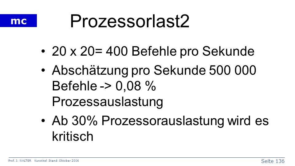 Seite 136 Prof. J. WALTER Kurstitel Stand: Oktober 2006 mc Prozessorlast2 20 x 20= 400 Befehle pro Sekunde Abschätzung pro Sekunde 500 000 Befehle ->