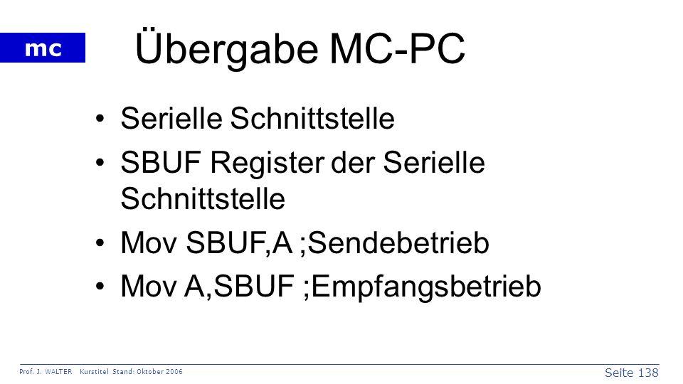 Seite 138 Prof. J. WALTER Kurstitel Stand: Oktober 2006 mc Übergabe MC-PC Serielle Schnittstelle SBUF Register der Serielle Schnittstelle Mov SBUF,A ;