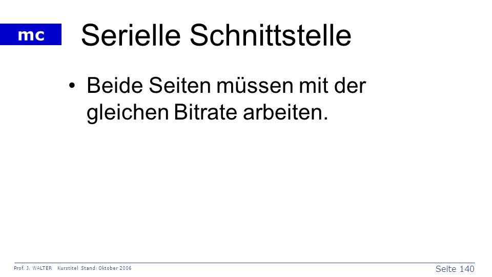 Seite 140 Prof. J. WALTER Kurstitel Stand: Oktober 2006 mc Serielle Schnittstelle Beide Seiten müssen mit der gleichen Bitrate arbeiten.