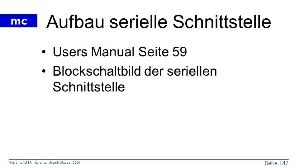 Seite 147 Prof. J. WALTER Kurstitel Stand: Oktober 2006 mc Aufbau serielle Schnittstelle Users Manual Seite 59 Blockschaltbild der seriellen Schnittst